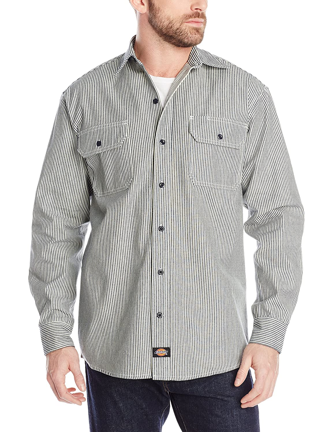 1930s Style Mens Shirts Dickies Mens Long Sleeve Button-Front Logger Shirt  AT vintagedancer.com