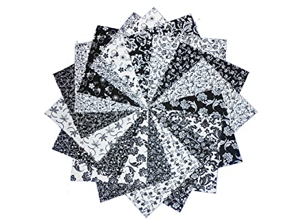 17 10 Inch Beautiful Black White Layer Cake Quilting Fabric Squares