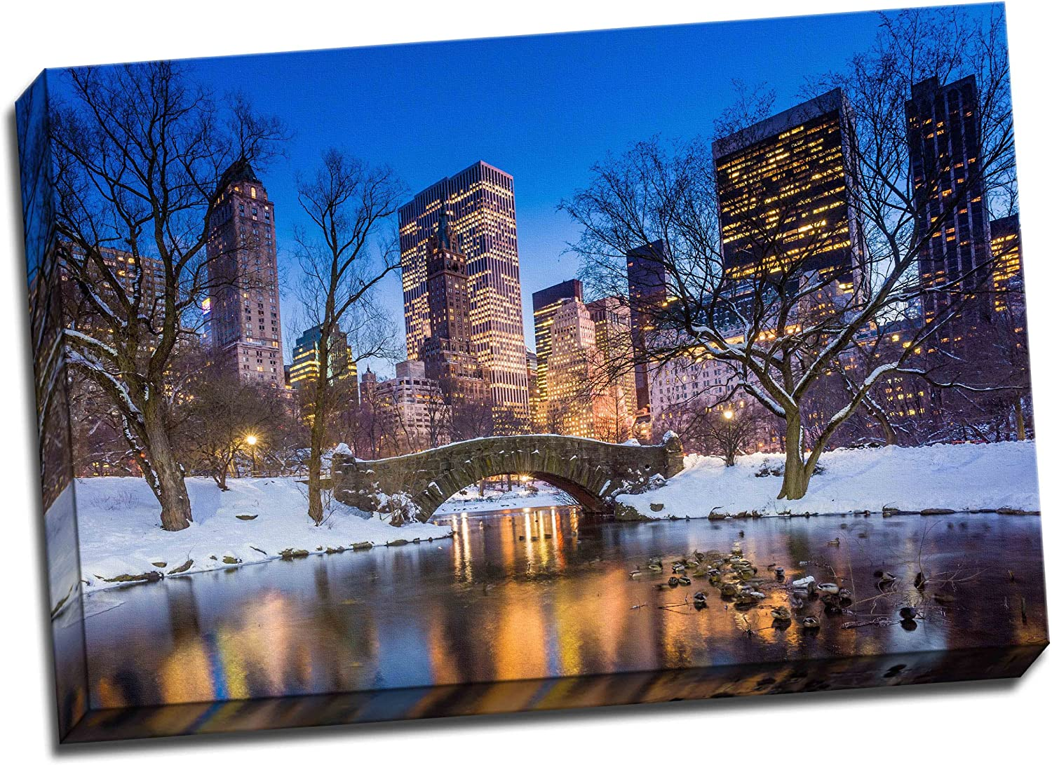 Gapstow Bridge In Winter Central Park Canvas Art Print Poster 30 X 20 Inches Amazon Co Uk Kitchen Home