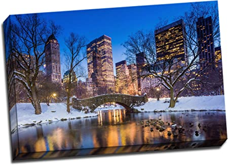 Gapstow Bridge In Winter Central Park Canvas Art Print Poster 30 X 20 Inches Amazon Co Uk Kitchen Home
