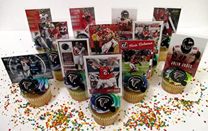 ATLANTA FALCONS 24 Piece Birthday Cupcake Topper Party Favor Set Featuring 12 Falcons Helmet Rings And