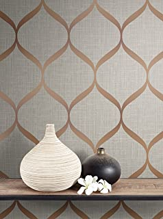 Quartz Fractal Wallpaper Charcoal And Copper Fine Decor
