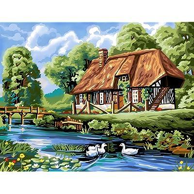 L'Art et la Manière Peinture au numéro motif Maison Normande 30 x 39cm Couleurs Assorties