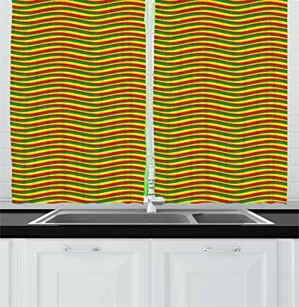 Amazon Com Ambesonne Rasta Kitchen Curtains Vivid Colors Ethiopian