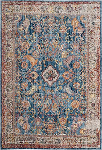 Safavieh Bristol Collection BTL361C Blue and Light Grey Vintage Oriental Distressed Area Rug 8' x 10'