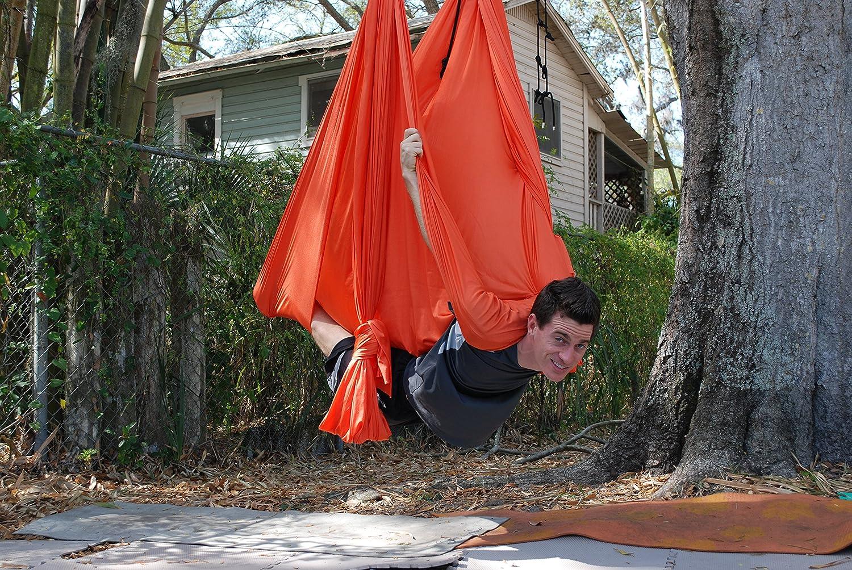 Deluxe Aerial Yoga Hammock Yoga Swing for Trx, Aerial Yoga, Antigravity Orange Pizaaz