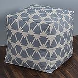 Rizzy Home POFP10383NTGY0002 Arrowhead Pattern / Southwestern Motif Square  Pouf,Natural