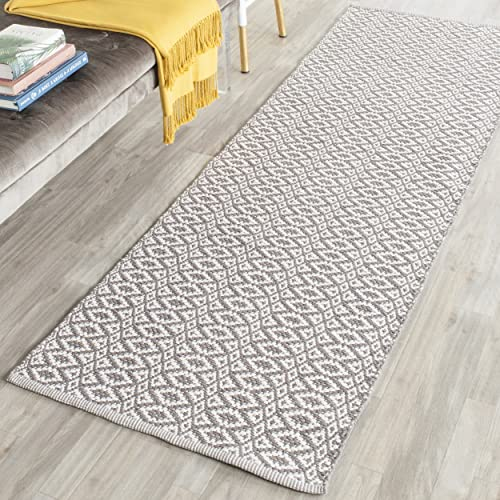 Safavieh Montauk Collection MTK716A Handmade Flatweave Ivory and Grey Cotton Runner 2 3 x 7