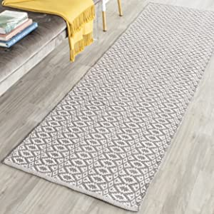 "Safavieh Montauk Collection MTK716A Handmade Flatweave Ivory and Grey Cotton Area Rug (2'3"" x 5')"