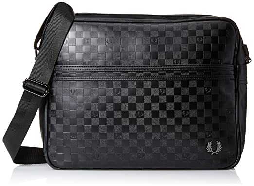 b7b3e618ac95 Fred Perry Mens Checkerboard Shoulder Bag - Black  Amazon.co.uk  Clothing