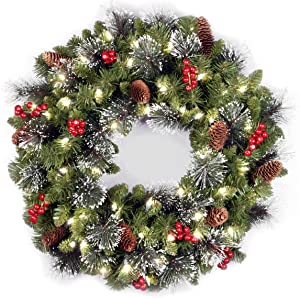 National Tree 24 Inch Crestwood Spruce Wreath with Silver Bristles, Cones, Red Berries and 50 Battery Operated Soft White LED Lights (CW7-306-24W-B)
