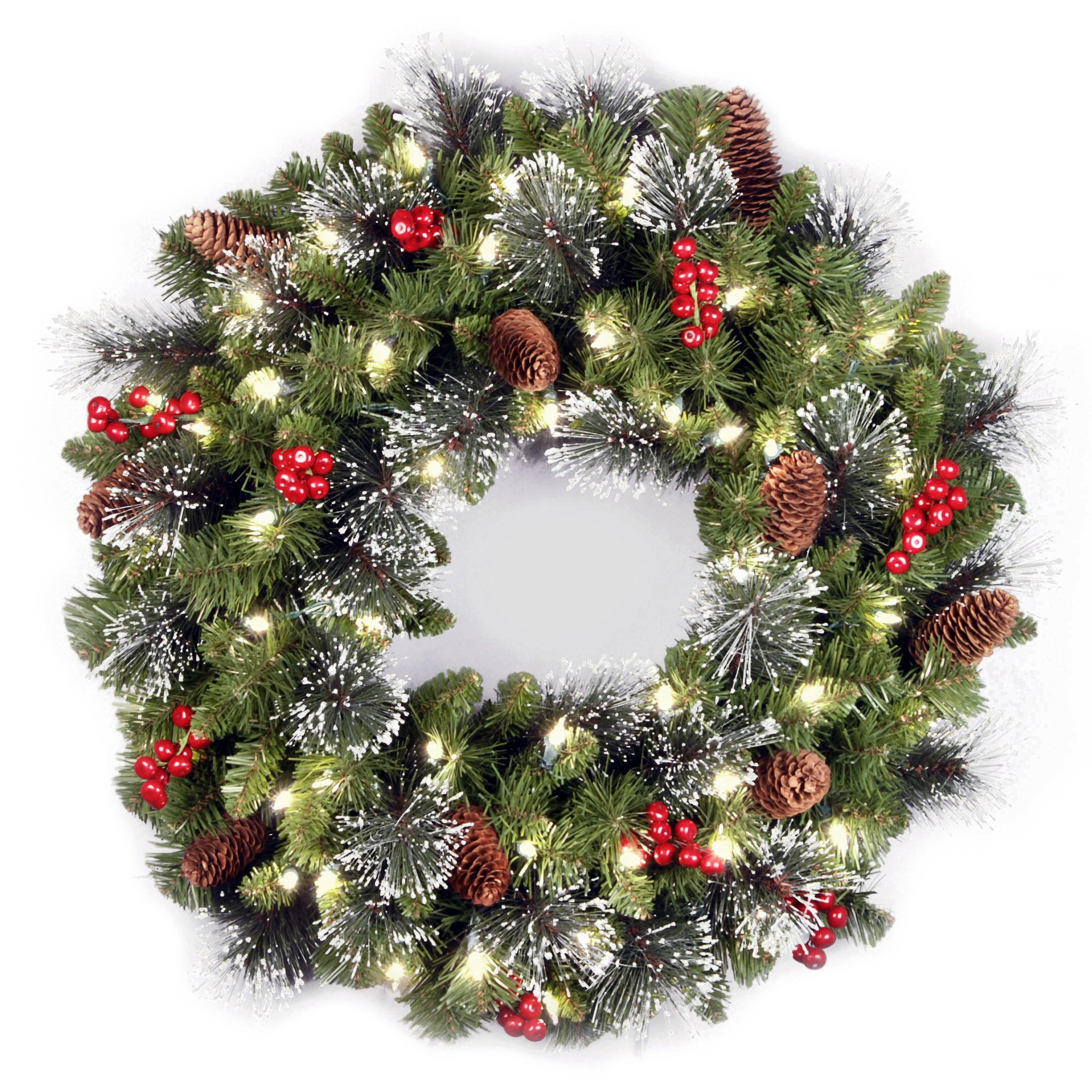 National Tree 24 Inch Crestwood Spruce Wreath with Silver Bristles, Cones, Red Berries and 50 Battery Operated Warm White LED Lights with Timer (CW7-306-24W-B1) by National Tree Company