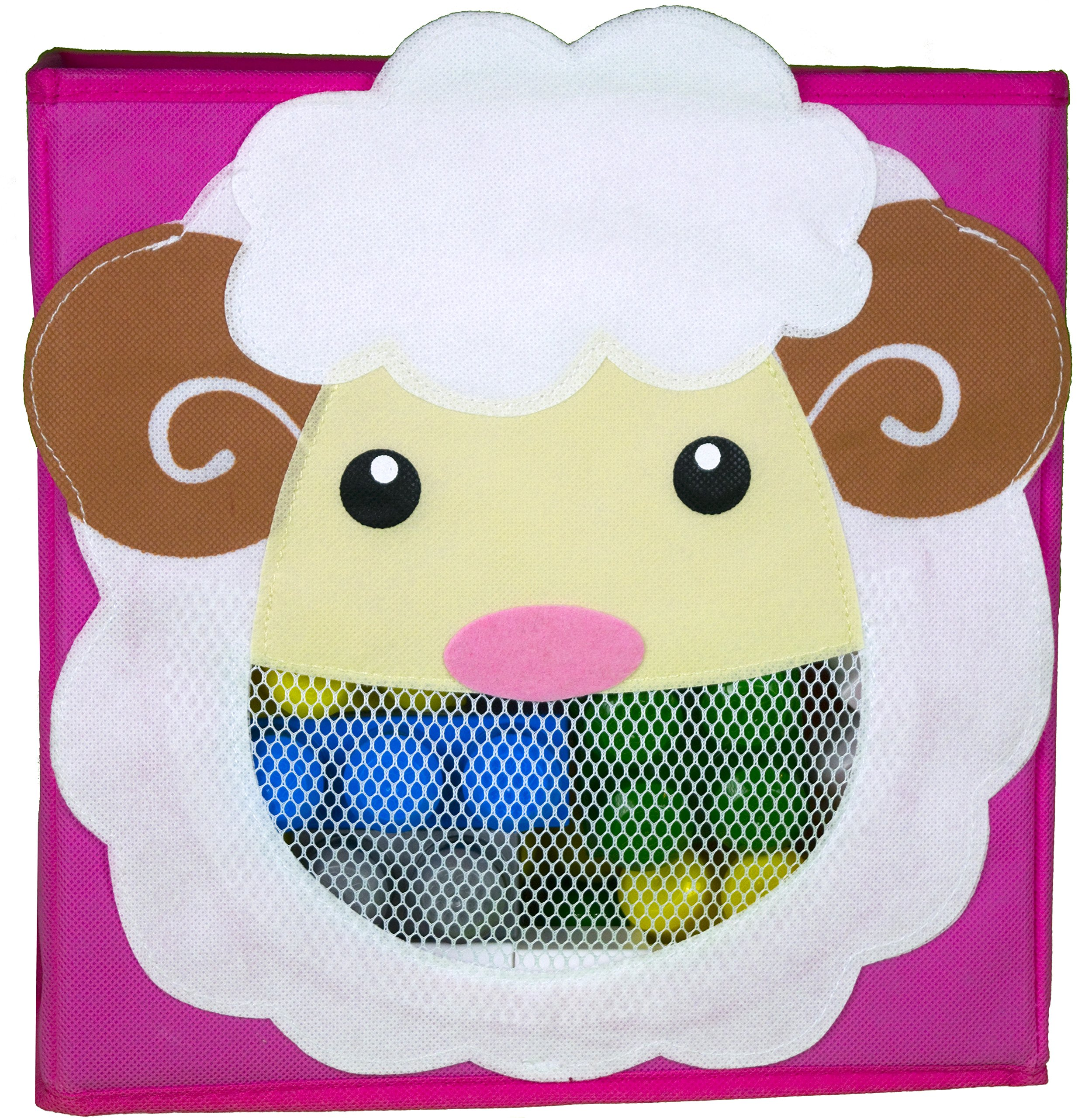 Cute Collapsible Storage Bins w/ View Window- Foldable cubes - 11x11 in. Folding Box (SHEEP)