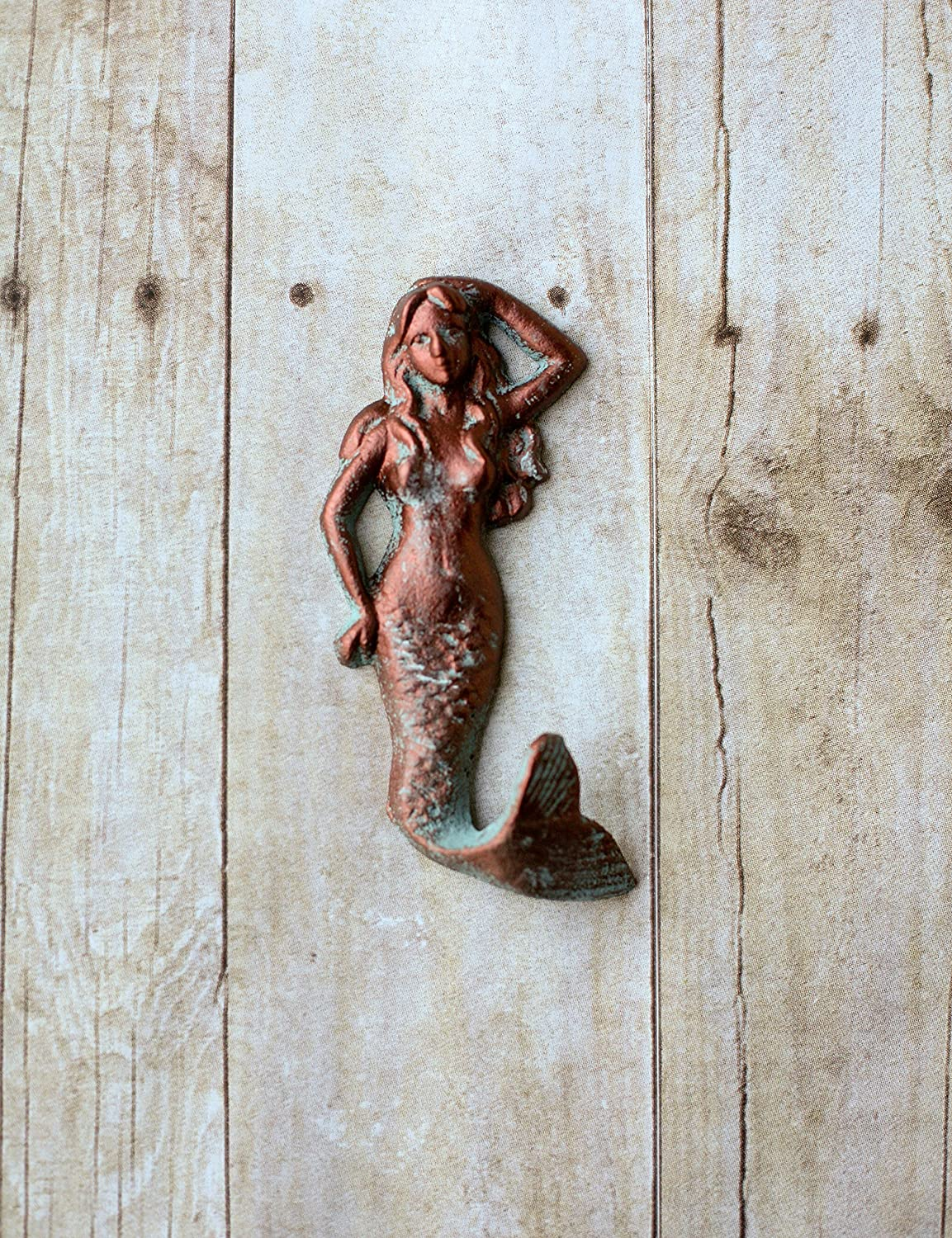Copper and Faux Patina Painted Mermaid Hook- Towel Hook- Beach Decor-