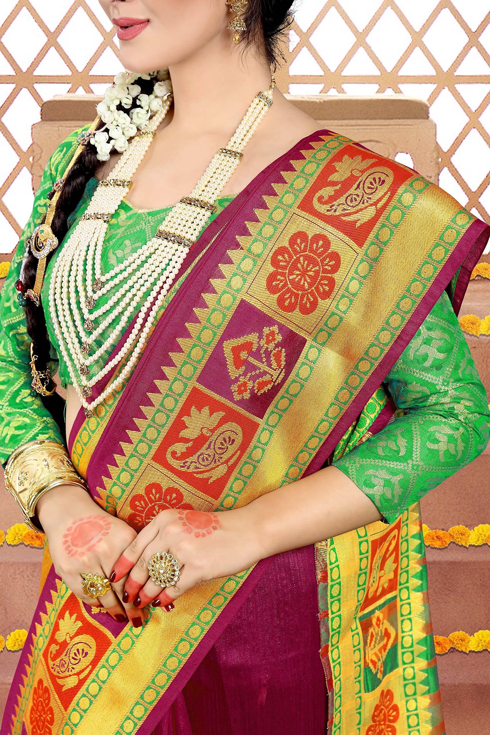 ELINA FASHION Sarees Women Cotton Silk Woven Saree l Indian Wedding Gift Sari Un Stitched Blouse by ELINA FASHION (Image #3)