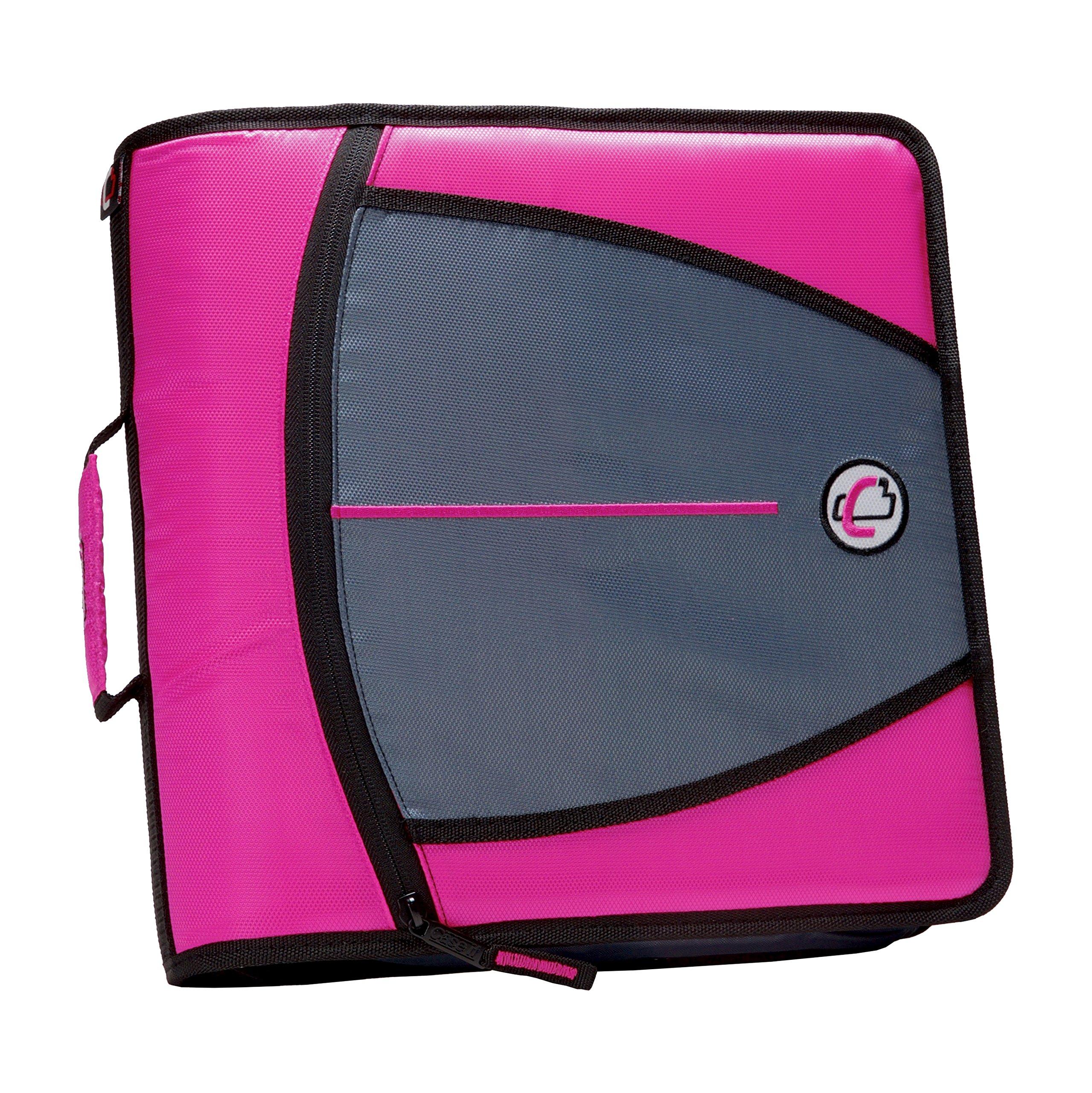 Case-it Mighty Zip Tab 3-inch Zipper Binder, Magenta, D-146-MAG