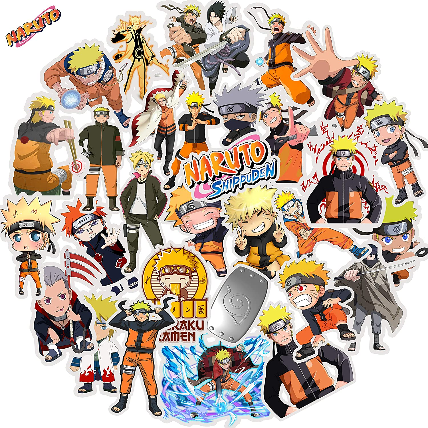 Naruto Stickers for Hydro Flask Laptop Water Bottle | Premium Vinyl Durable Waterproof | Funny Cute Cool Anime Bulk Decal Pack for Teen Kid Boy Phone case Computer iPad Skateboard Car Bumper, 30PCS