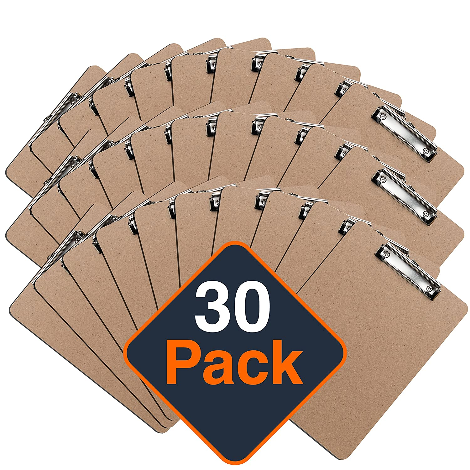 Clipboards (Set of 30) by Office Solutions Direct! ECO FRIENDLY Hardboard Clipboard Pack, Low Profile Clip Standard A4 Letter Size, Classroom Supplies