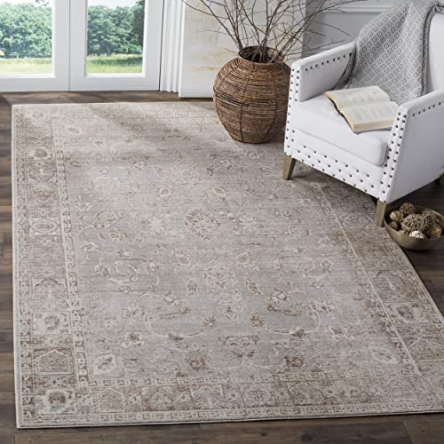 Safavieh Valencia Collection VAL105F Grey and Multi Vintage Distressed Silky Polyester Area Rug 9 x 12