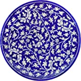 Aditya Blue Art Pottery Ceramic Decorative Wall Hanging Handmade Plate (20 cm x 20 cm x 3 cm, Blue, ABP15)