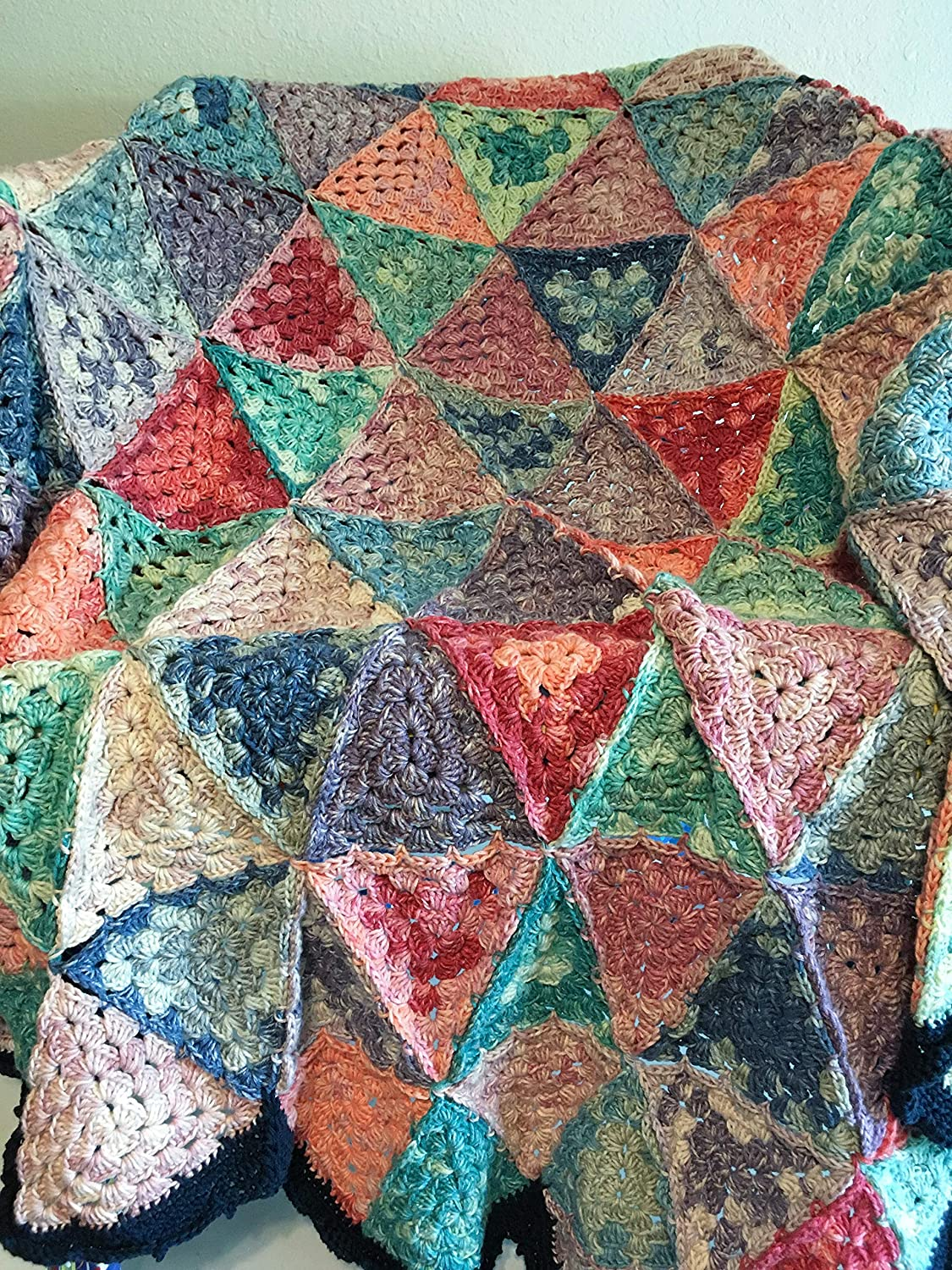 Amazoncom Triangle Crochet Afghan Blanket Granny Square Triangle