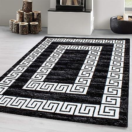 Tapis design moderne tapis de salon pile courte Versace modèle Lurex noir blanc