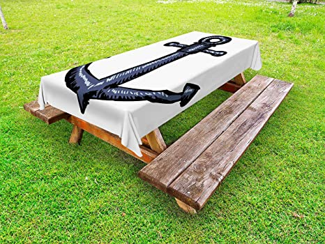 Amazon Com Ambesonne Anchor Outdoor Tablecloth Contemporary Image