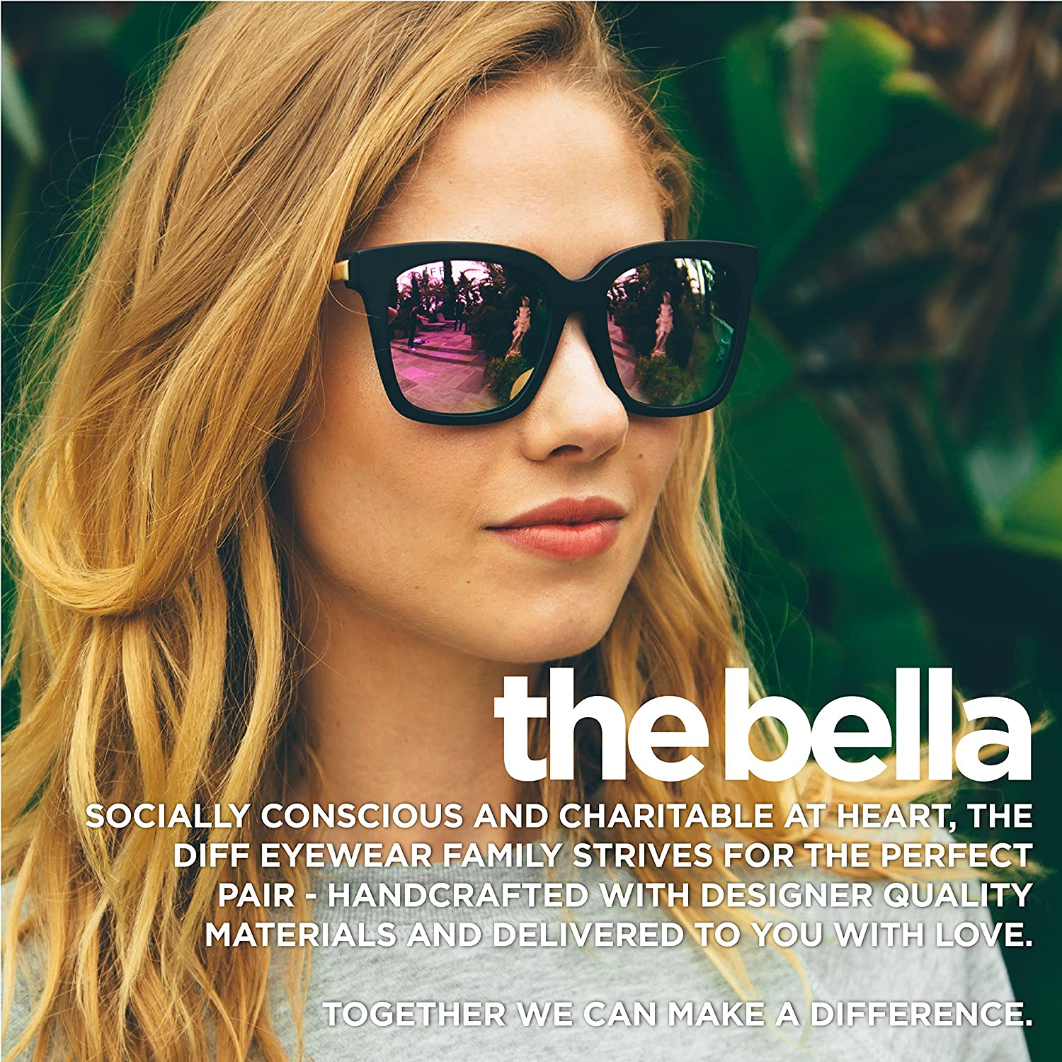cf7ba4c0a6c Amazon.com  Diff Eyewear  Bella - Designer Square Sunglasses - 100%  UVA UVB  Clothing