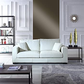 Amazon Com Kristyna Soft Cream Bonded Leather Sofa By