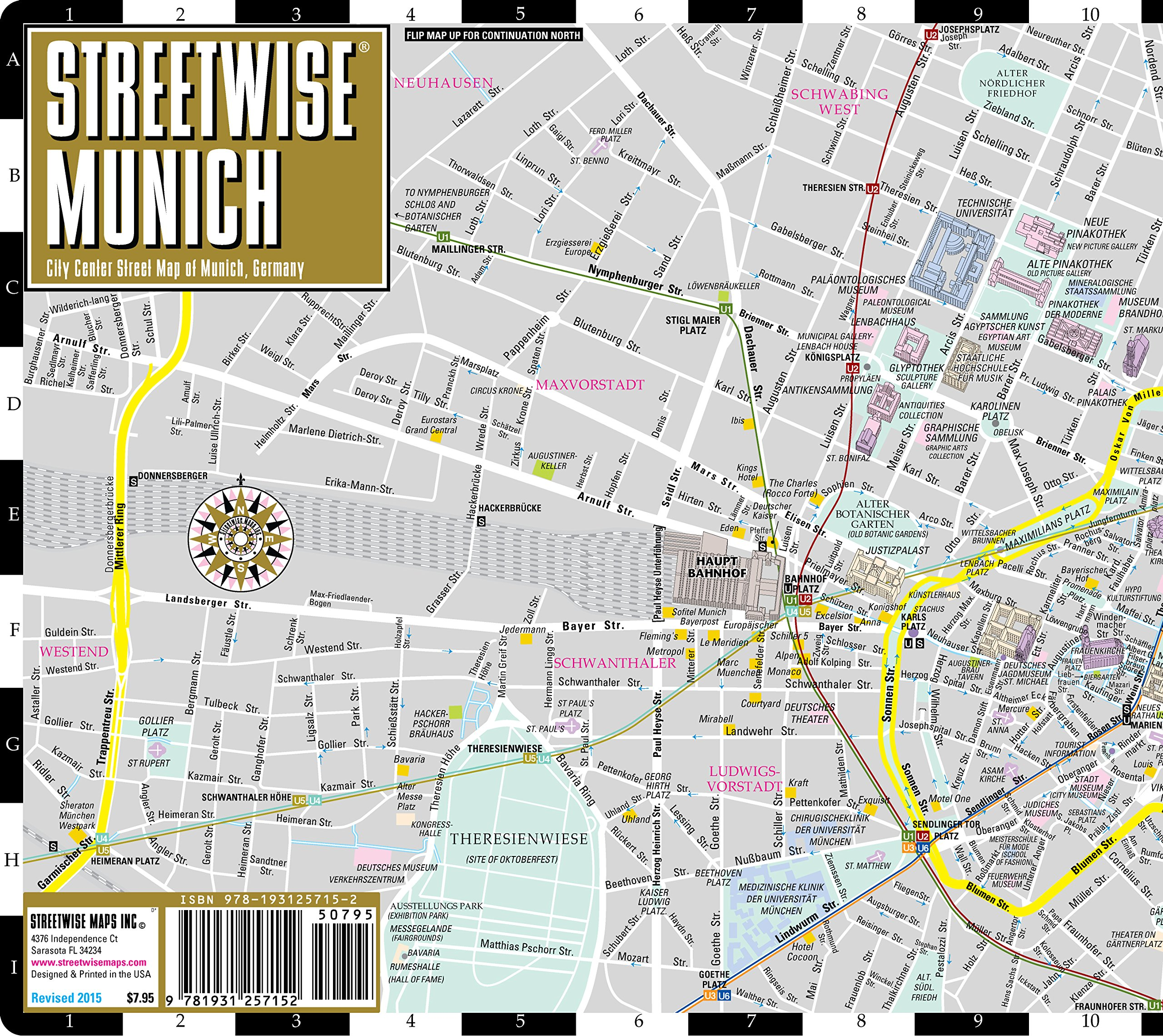 Streetwise Munich: City Center Street Map of Munich, Germany ...