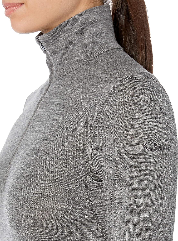 Large Gritstone HTHR Icebreaker Merino Womens 200 Oasis Long Sleeve Half Zip Top