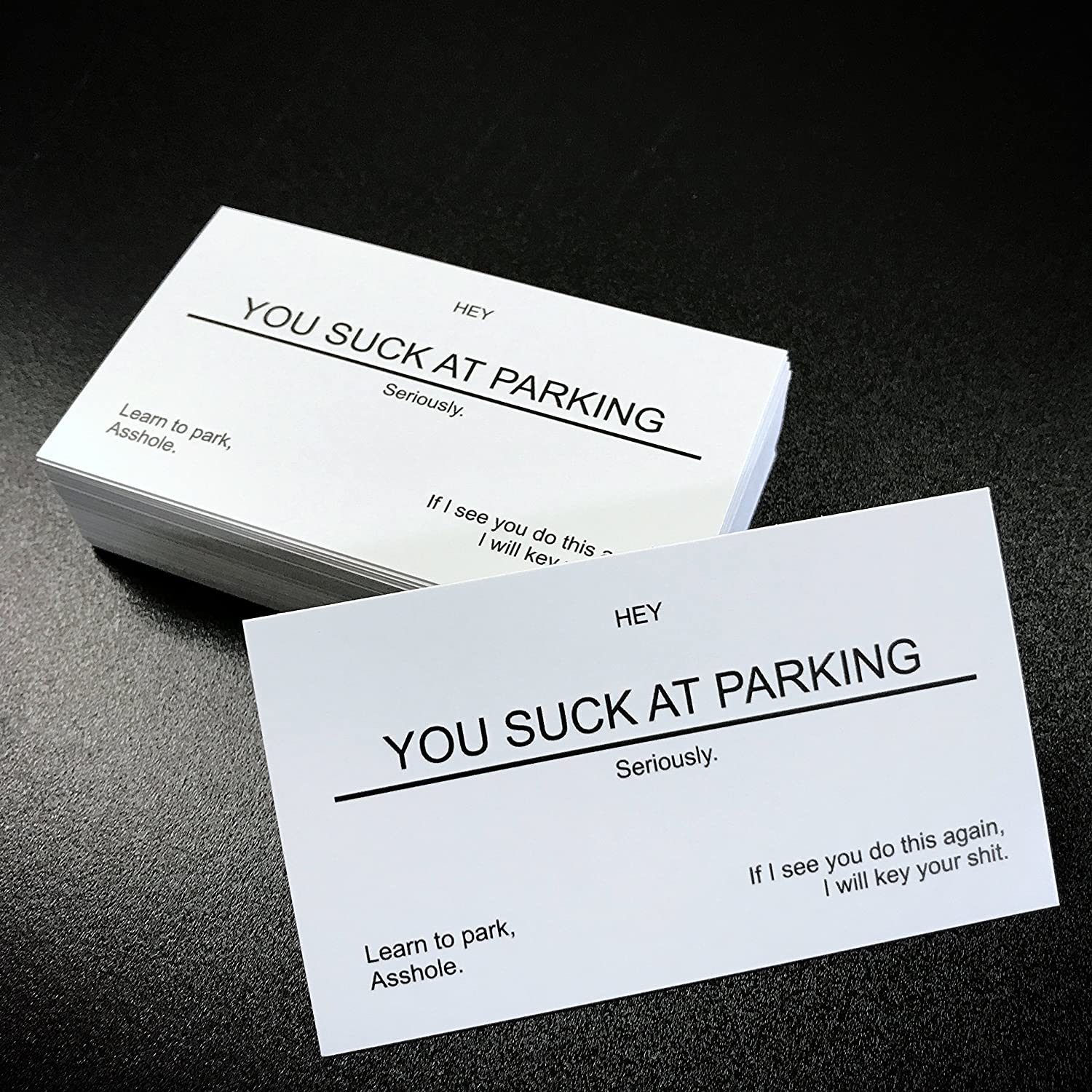 Amazon.com : YOU SUCK AT PARKING Business cards (10 pack) white ...