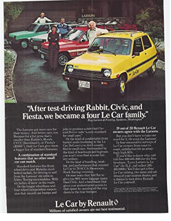 Amazon.com: 1979 Vintage Magazine Advertisement Le Car By Renault: Posters & Prints
