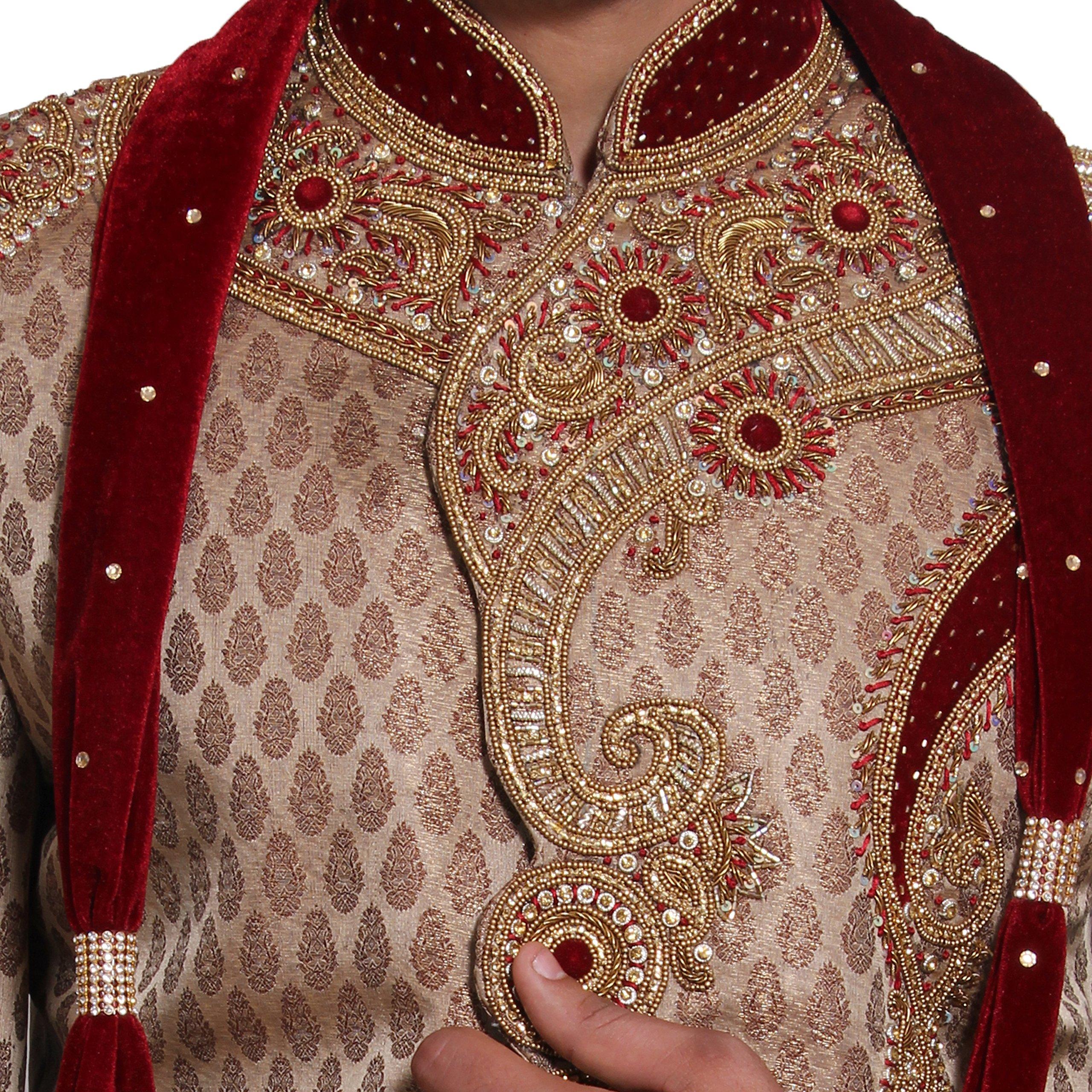 Indian Wedding Kurta Pajama Sherwani for Men Banarasi Silk Maroon Kurta Set by Favoroski (Image #5)