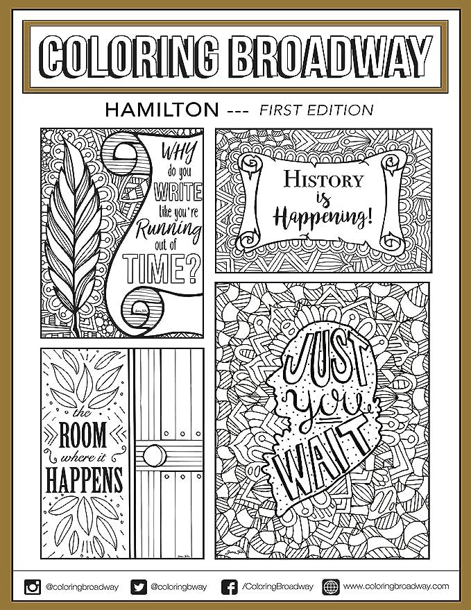 Coloring Broadway Hamilton - Tarjetas para colorear con sobres (5 x ...