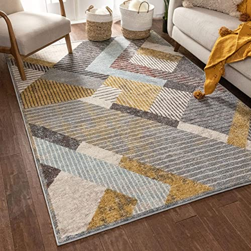 Well Woven Jayce Grey Modern Geometric Boxes Shapes Pattern Area Rug 8×10 7'10″ x 10'6″