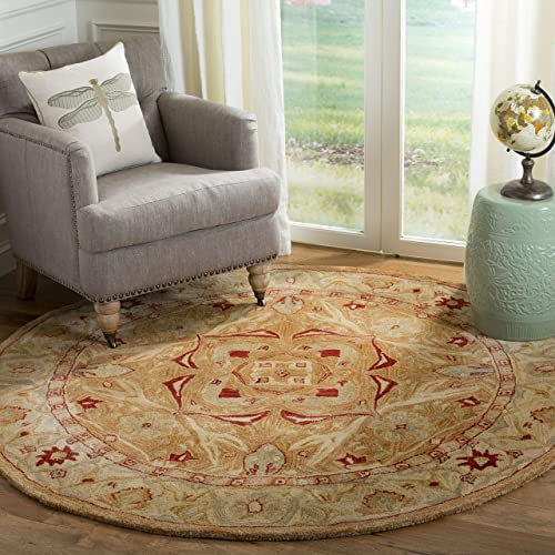 Safavieh Anatolia Collection AN515A Handmade Traditional Oriental Straw and Ivory Wool Round Area Rug 4 Diameter
