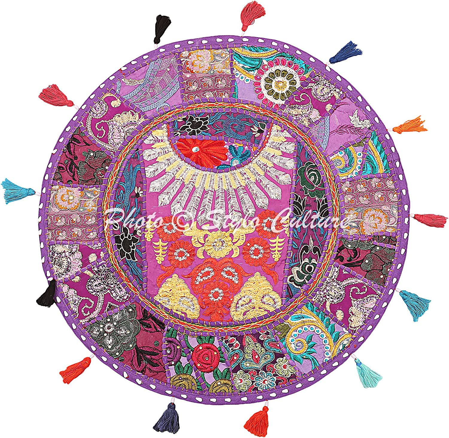 Stylo Culture Ethnic Yoga Pillows for Sitting On Floor Vintage Patchwork Pouf Cover Purple 18x18 Decorative Round Decor Seating Tuffet Seat Pouf Cover Footstool Cotton Embroidered 1 Pc
