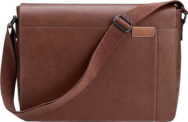 """Men Real Leather 17/"""" Laptop Briefcase Messenger Shoulder Bag Satchel Travel Bag"""