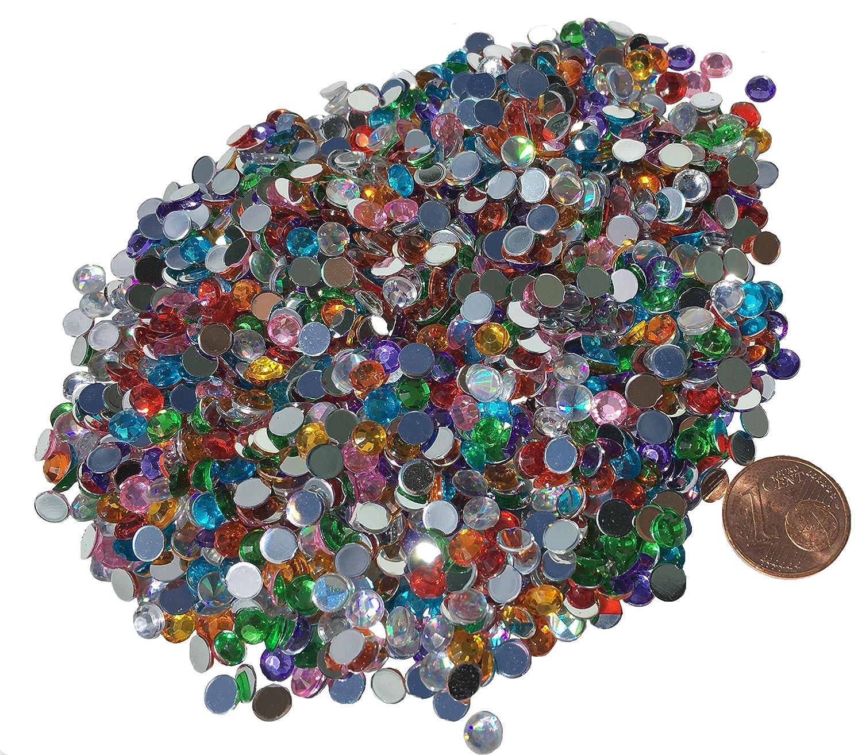 Cristal King, strass quadrati e rotondi da 5 mm, in acrilico trasparente, multicolore, da incollare, effetto laser, effetto arcobaleno, decorativi, confezione da 1500 CRYSTAL KING