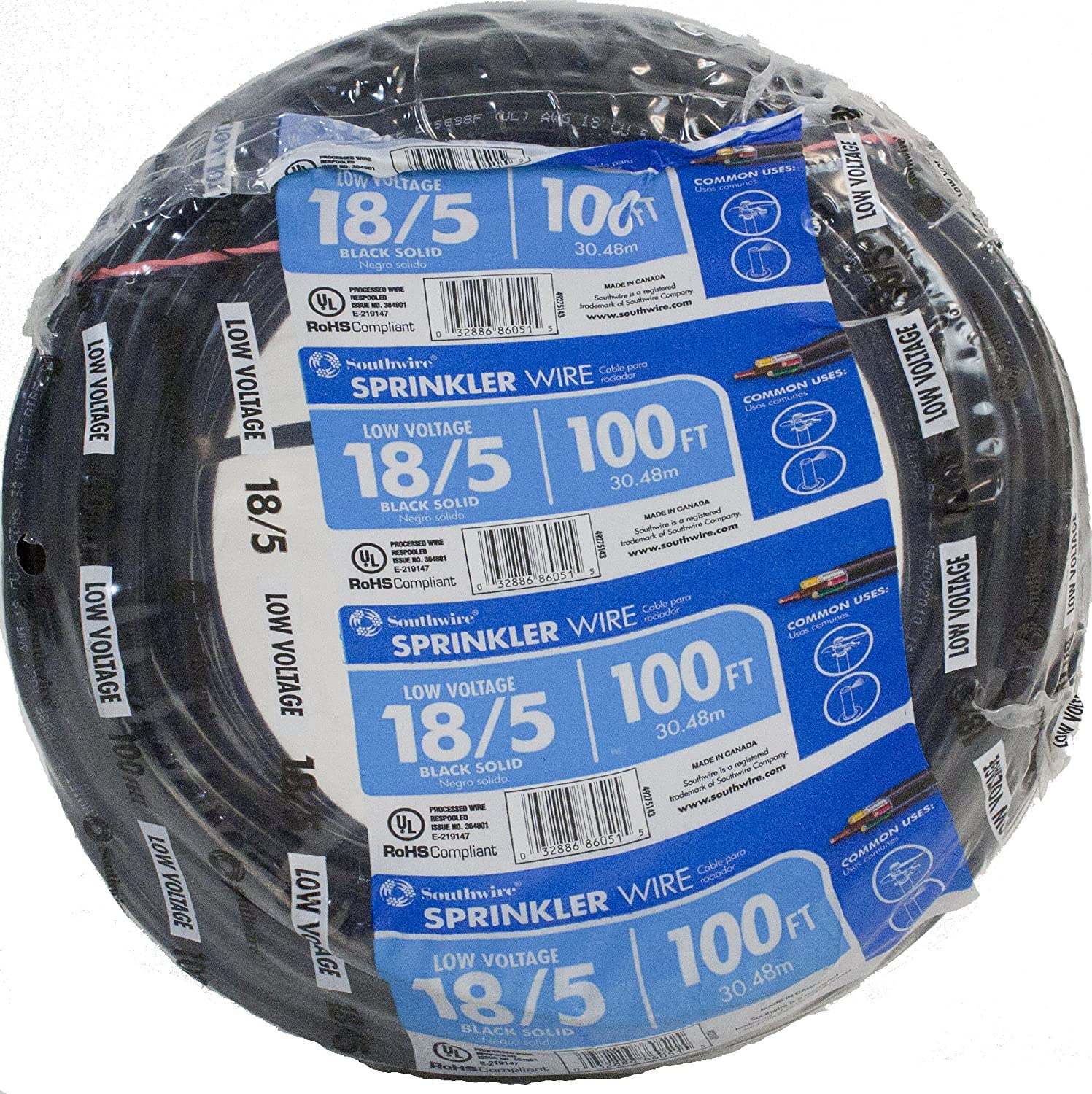Southwire 49275143 100' 18/5 Multi-Conductor Sprinkler Wire for outdoor use, Black, 100 foot