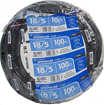 Southwire 49275143 100 18 5 Multi Conductor Sprinkler Wire For Outdoor Use Black 100 Foot Electrical Wires Amazon Com