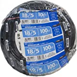 Southwire 49275143 100' 18/5 Multi-Conductor Sprinkler Wire for Outdoor use, Black, Foot