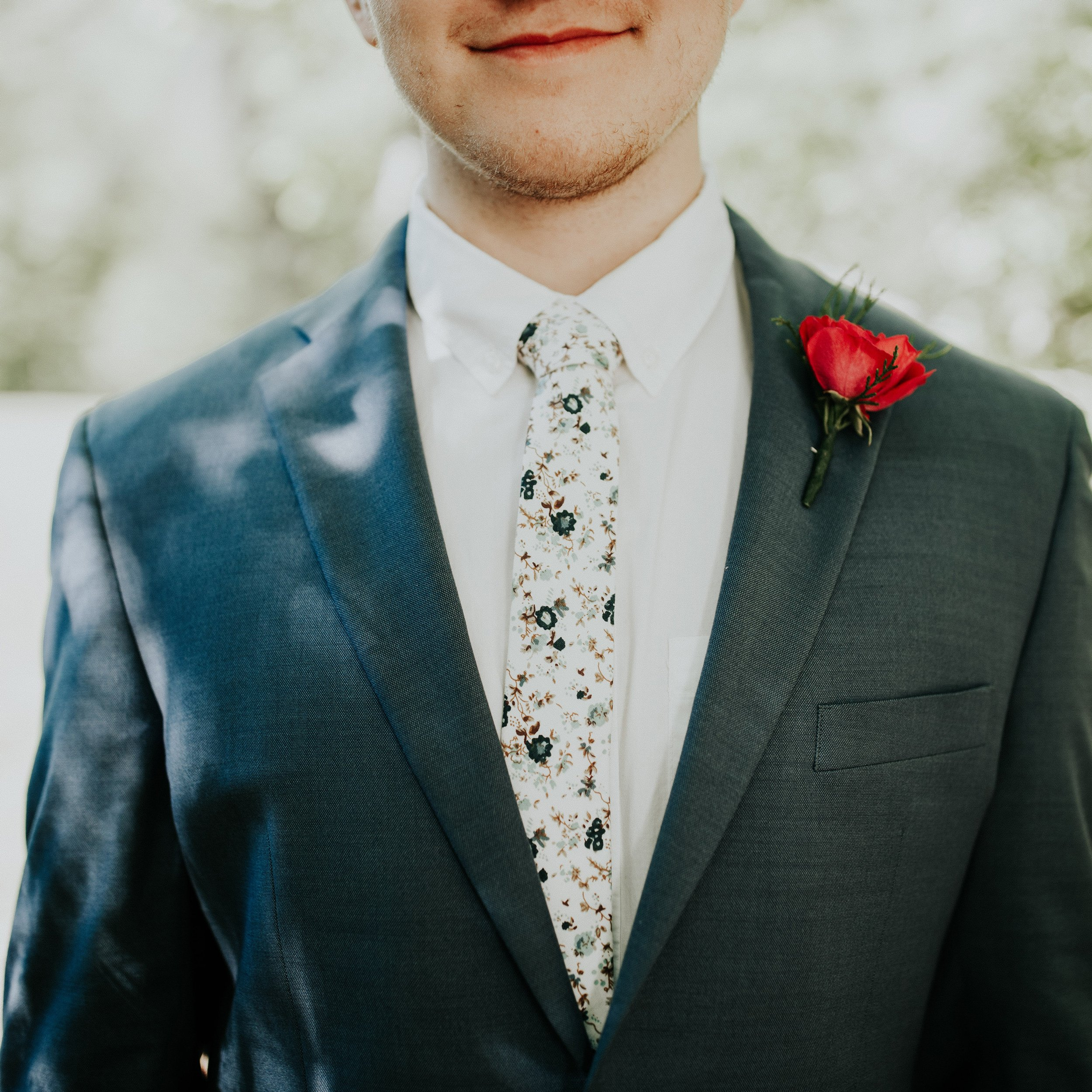 DAZI Men's Skinny Tie Floral Print Cotton Necktie, Great for Weddings, Groom, Groomsmen, Missions, Dances, Gifts. (Blue Bloom) by DAZI (Image #4)