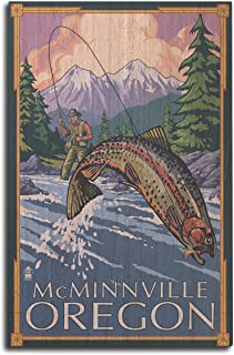 product image for Lantern Press McMinnville, Oregon Fisherman (10x15 Wood Wall Sign, Wall Decor Ready to Hang)