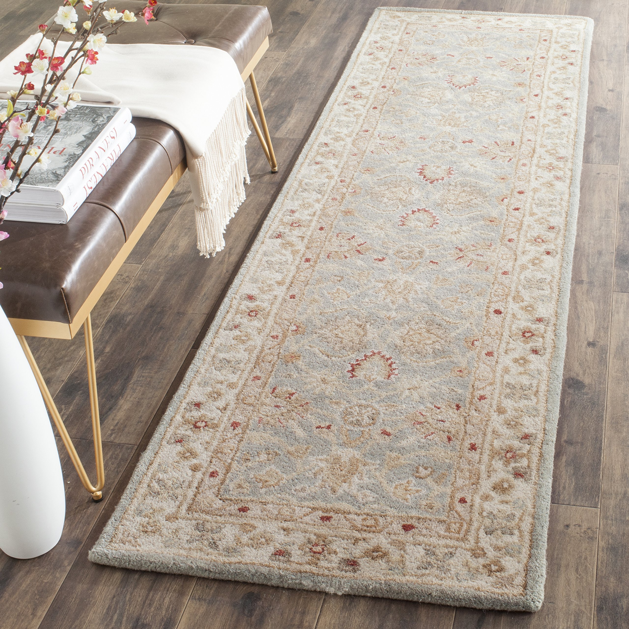 Safavieh Antiquities Collection AT822A Handmade Traditional Oriental Grey Blue and Beige Wool Runner (2'3'' x 6')
