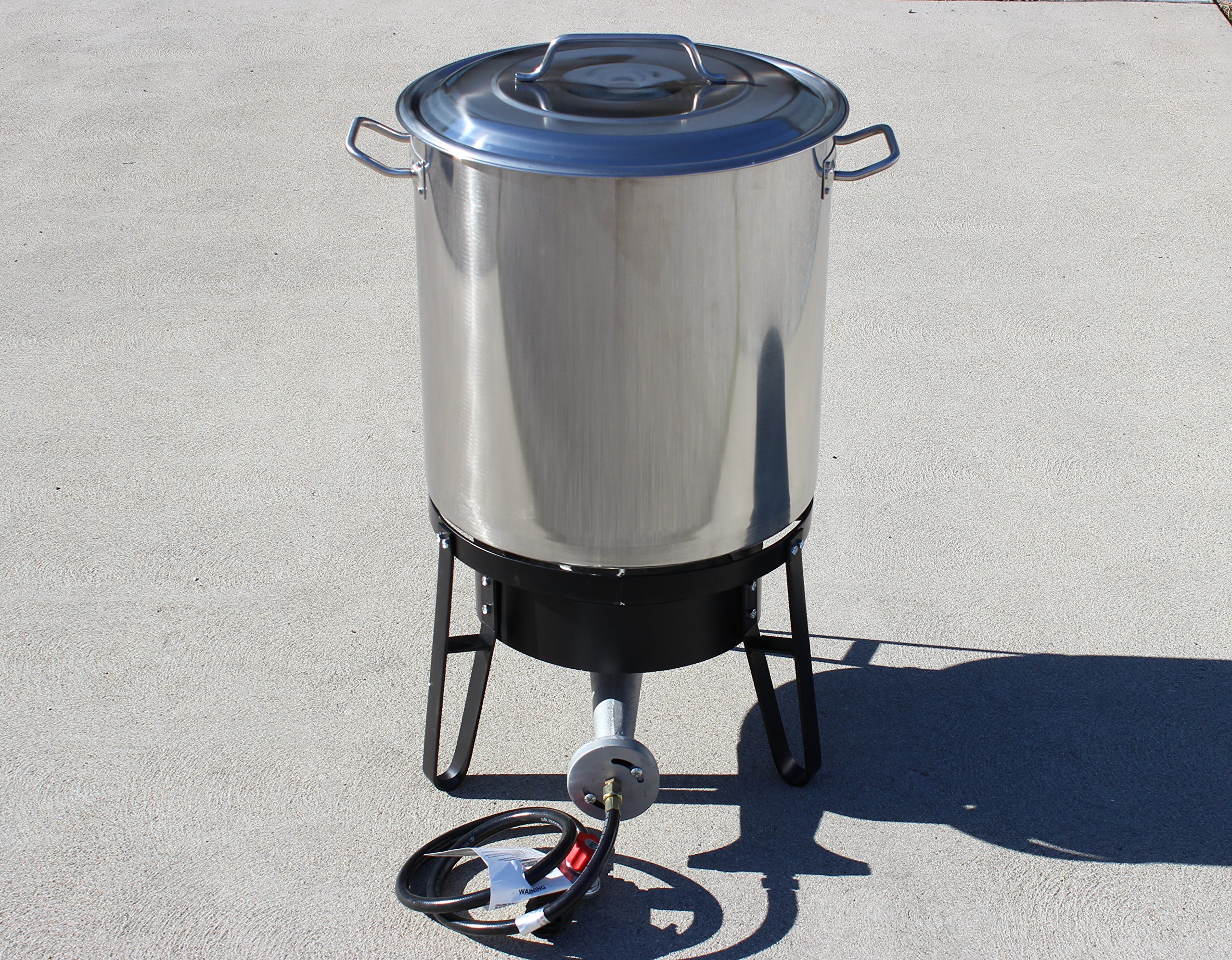 Concord Home Brew Stainless Steel Kettle with Single Burner Stand Set (120 Quart)