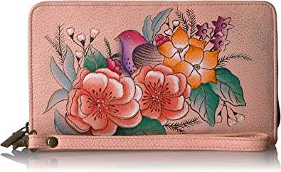 ANNA by Anuschka Hand Painted Leather Wristlet Organizer Wallet