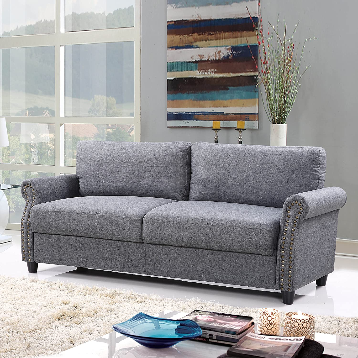 Classic Living Room Linen Sofa with Nailhead Trim Furniture with Storage (Light Grey)
