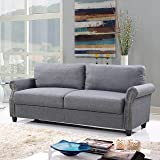 Classic Living Room Linen Sofa with Nailhead Trim Furniture Set with Storage (Light Grey)
